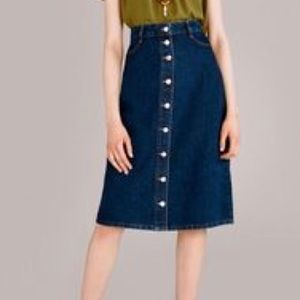 Topshop Moto, Vintage style, button up,denim skirt